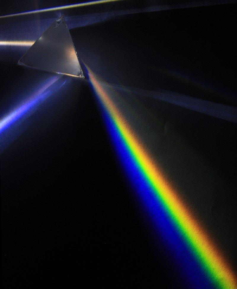 Descomposición de la luz blanca en todos los colores del espectro
