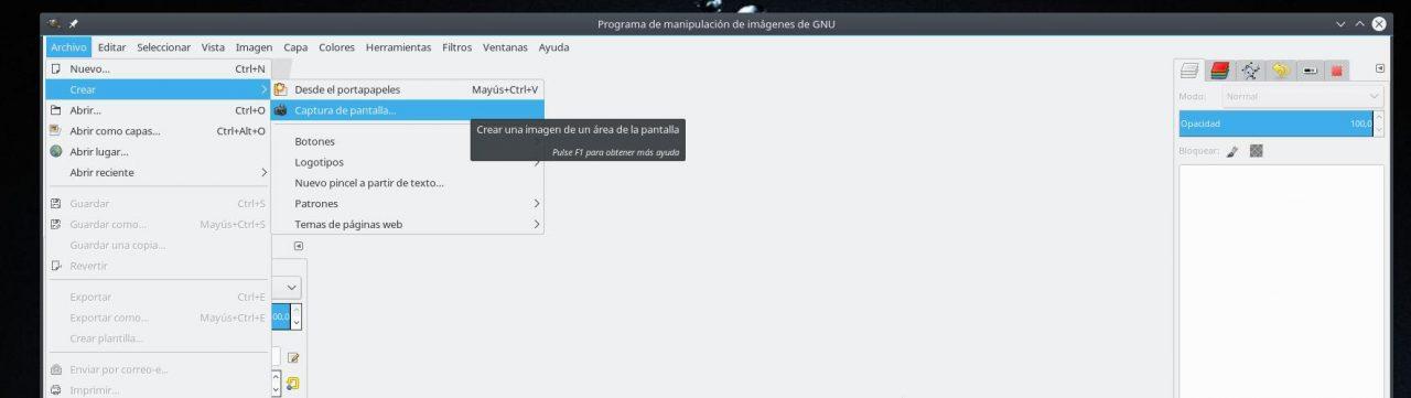 Captura de pantalla con The Gimp