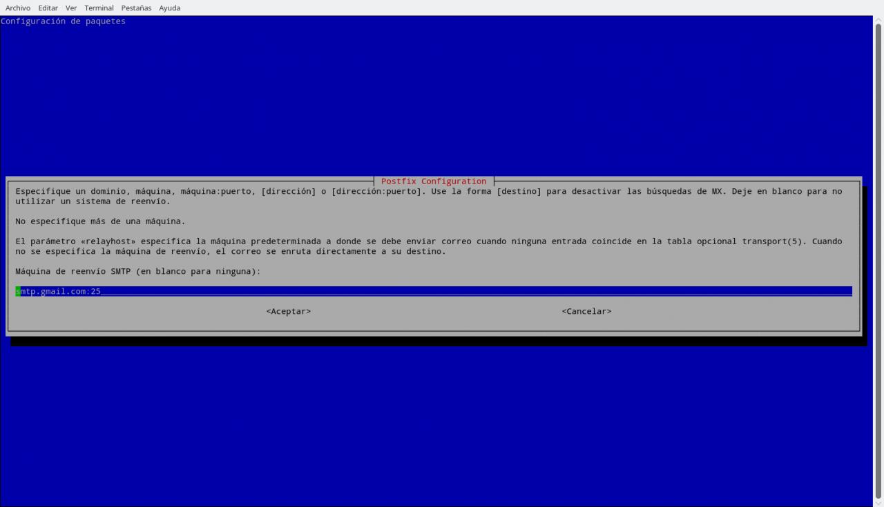 Postfix, indicando el servidor Relay